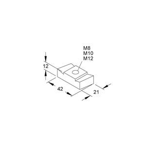 GM 5030 M12 F, Gleitmutter, Gewinde M12, für Schlitzweiten 22 mm, 26 mm, Stahl, feuerverzinkt DIN EN ISO 1461/10684