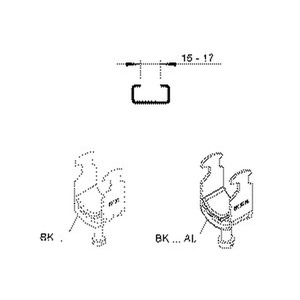 BK 34 AL, Hammerfuß-Bügelschelle, für 1 Kabel, Ø 30-34 mm, Schlitzweite 16-17 mm, Aluminium, mit Kunststoffdruckwanne