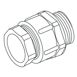250/21, CONUS-Kabelverschraubung, Pg 21, Kabel-Ø 14-18 mm, Gewindelänge 11 mm, Kunststoff PS, RAL 7035, lichtgrau