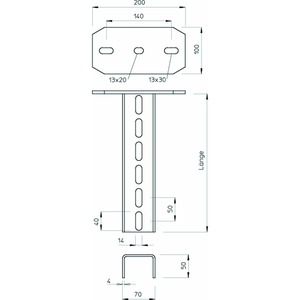 US 7 K 70 A2, Hängestiel mit angeschweißter Kopfplatte 70x50x700, V2A, A2, GB