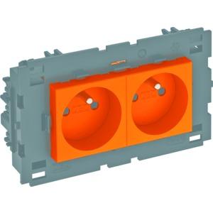 STD-F0C8 ROR2, Steckdose 0°, 2-fach mit Erdungsstift, Connect 80 250V, 10/16A, PC, reinorange, RAL 2004