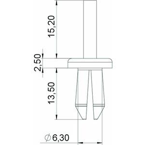 KSN22, Spreizniet Größe 2 Ø 6,3mm, PA, lichtgrau, RAL 7035