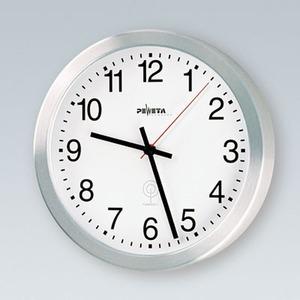 DCF77 Funkuhr 1,5 V für innen, Ø 350 mm, Metallgehäuse Alu matt-geschliffen - Zifferblatt mit arabischen Zahlen -