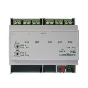 A6F16-Q, KNX quick Schaltaktor 6-fach, 6 TE  Schaltleistung 16A 250 VAC, C-Last 200µF