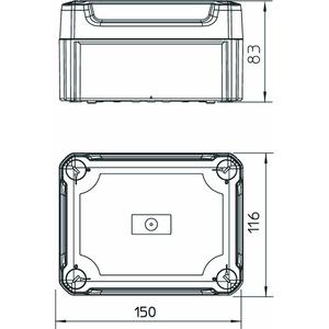 T 100 OE HD LGR, Kabelabzweigkasten geschlossen mit hohem Deckel 150x116x83, PP/PC, lichtgrau, RAL 7035
