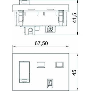 STD-BS0G RW1.5, Steckdose 0°, 1-fach British Standard, geschaltet 250V, 13A, PC, reinweiß, RAL 9010