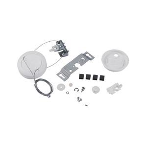 Doppel-Seilabhängung,Baldachin,Kunststoff,weiß, rund,leuchtenseitige Befestigung,Stahl,verzinkt, bis zu 1,0m,mit 5 Klemmen, 1polig, max. 2,5mm² und Z