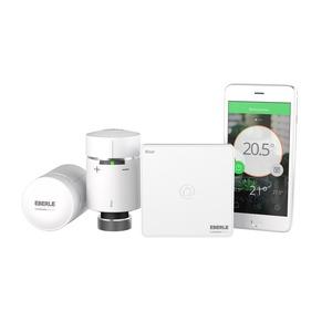 Wiser Starter Kit, Wiser Heat Starter Kit. Bestehend aus einem Hub, 2x Heizkörperthermostaten, der App fürs Smartphone und Ventil-Adapter.