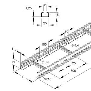 KL 60.603 F, Kabelleiter, 60x600x6000 mm, t=1,5 mm, gelocht, Sprossenabstand 300 mm, Stahl, feuerverzinkt DIN EN ISO 1461