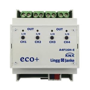 KNX eco+ Schaltaktor 4-fach, Handbedienung, 4 TE; Schaltleistung 16A 250 VAC, C-Last 200µF