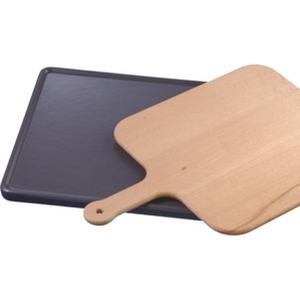 Keramikbackstein mit Holzschieber für Brot, Fladenbrot, Pizza, Tiefkühlgerichten, schwarz und pyrolysefähig (Zubehöre für alle Geräte nutzbar)