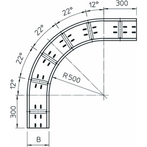WRB 90 150 FS, Bogen 90° für Weitspannkabelrinne 110 110x500, St, FS
