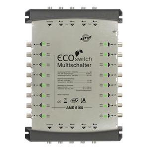 AMS 5160 ECOswitch, Kaskadierbarer, rückwärts speisbarer Multischalter für das AMS 5er Ecoswitch-System, 5 Eingänge für eine Satellitenposition plus Terrestrik, 16 Teilne