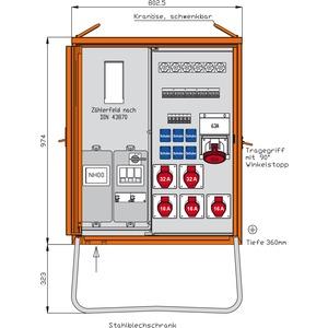 Anschlussverteilerschrank 55kVA mit Zählerplatz, 2 RCDs TypA,11 LS,  4 CEE-Abgängen 16-63A und 6 Schukos-WAV0179