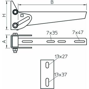 AWV 61 FT, Wandausleger variabel B610mm, St, FT