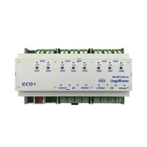 KNX eco+ Binär Ein-/Ausgang 8-fach, Signaleingang 230V AC/DC, Handbedienung, 9 TE; Schaltleistung 16A 250 VAC, C-Last 200µF