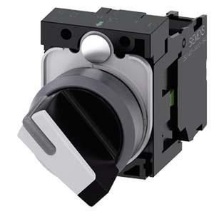 3SU1130-2BF60-1BA0, Knebelschalter, beleuchtbar, 22mm, rund, Metallfrontring, schwarz, weiß, 1S