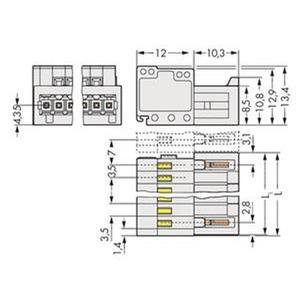 1-Leiter-Stiftleiste 100% fehlsteckgeschützt 1,5 mm² Rastermaß 3,5 mm 8-polig lichtgrau