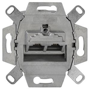 UAE-Cat.6A iso-8/8 Up 0, Cat.6A iso-Anschlussdose, geschirmt, 2-fach, für Abdeckungen der Elektro-Installationsmaterial-Hersteller, abbrechbarer Tragring für Stegversion
