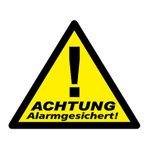 WAK-A, Warnaufkleber: Achtung Alarmgesichert! Dreiecksform, Vorderseite beklebt, 3er Packung
