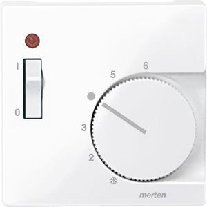 534825, Zentralplatte für Raumtemperaturregler-Einsatz mit Schalter, aktivweiß glänzend, System M