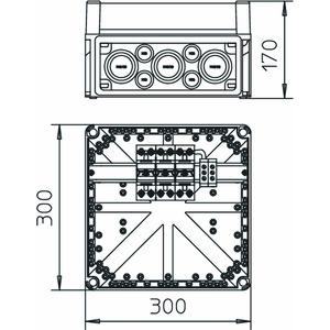 VG 3-B TNC, Gehäuse mit 3 Blitzstromableitern 280V