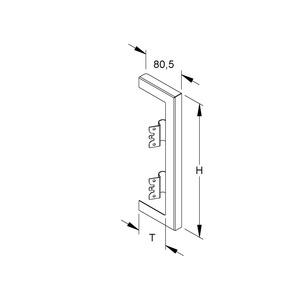 DWB 220T60 L, GK-Wandabschlussblende, doppelzügig, 261x61 mm, Stahl, bandverzinkt DIN EN 10346, pulverbeschichtet,RAL 7035,lichtgrau