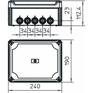 T 250 HD LGR, Kabelabzweigkasten mit hohem Deckel 240x190x115, PP/PC, lichtgrau, RAL 7035