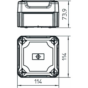 T 60 OE HD LGR, Kabelabzweigkasten geschlossen mit hohem Deckel 114x114x76, PP/PC, lichtgrau, RAL 7035