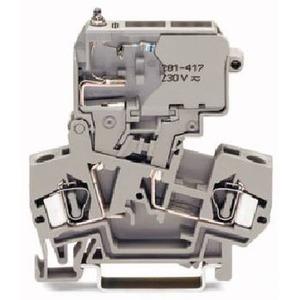 Sicherungsklemme mit schwenkbarem Sicherungshalter 230 V mit Defektanzeige durch Glimmlampe grau