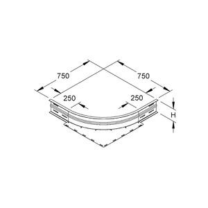 WAER 150 E3, Eckanbaustück, Höhe 151,5 mm, rund, gesickt, ungelocht, Edelstahl, Werkstoff-Nr.: 1.4301, 1.4303, inkl. Zubehör