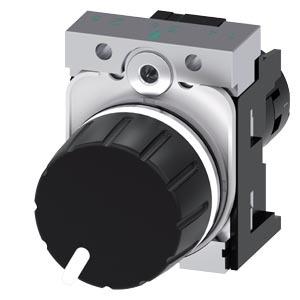 3SU1250-2PS10-1AA0, Potentiometer, 22mm, rund, Metall, hochglanz, schwarz, 10K Ohm