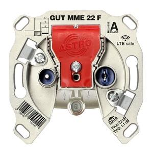 GUT MME 22 F, BK-Modem-Durchgangsdose, 5 - 1218 MHz, TV- & Modem-Anschlussdämpfung ca. 22 dB, Stammdurchlassdämpfung ca. 1 dB, F-Konnektor für den Anschluss eines M