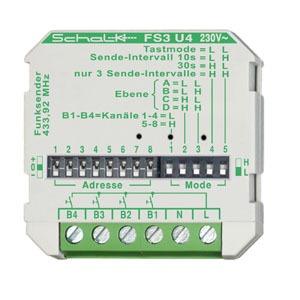 FS3 U4 (230V AC), Funk-Sender FS3 U4, 4-Kanal, 230V AC,  Intervallsender, Unterputz