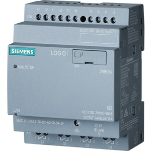 6ED1052-2HB08-0BA0, LOGO! 24RCEO (AC), Logikmodul, SV/E/A: DC 24V/24V AC/Relais, 8 DE/4 DA, ohne Display, Speicher 400 Blöcke, modular erweiterbar, Ethernet, integr. Web-
