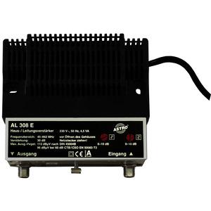 AL 308 E, Hausanschlussverstärker 30 dB Verstärkung Vorweg, Ausgangspegel Vorweg 96 dBµV, Dämpfungssteller Vorweg 0 - 10 dB, Entzerrer Vorweg 0 - 10 dB, ohne Rü