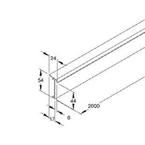 T/SD50.6, Teppichleistenoberteil, 54x24x2000 mm, Kunststoff PVC-hart, RAL 9001, cremeweiß