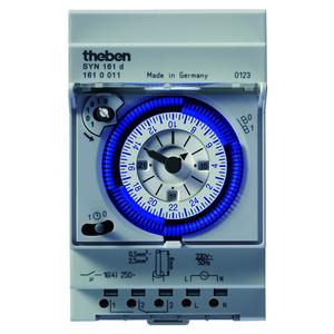 SYN 161 d, 1 Kanal Tageszeitschaltuhr, 230 V, 45-60 Hz, 3TE, Uhrzeit-Feineinstellung, Schaltzustandsanzeige Dauerschalter