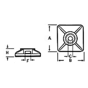 06831, Montage-Klebesockel Polyamid 6.6 UL 94V-2 2-Weg Klebesockel natur 4,8