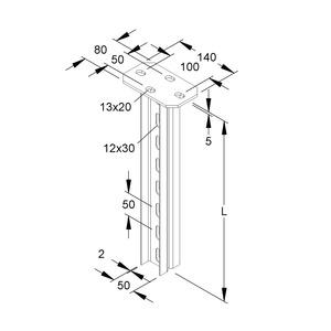 HDUF 50/1000, Hängestiel, Doppel U-Profil, 50x22x1000 mm, Stahl, feuerverzinkt DIN EN ISO 1461