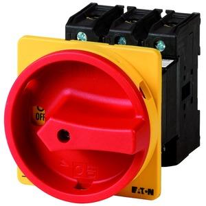 P3-100/V/SVB/HI11, Hauptschalter, P3, 100 A, Zwischenbau, 3-polig, 1 Schließer, 1 Öffner, NOT-AUS-Funktion, mit rotem Drehgriff und gelbem Sperrkranz, abschließbar in 0-