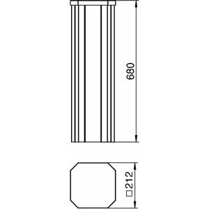 ISSHS4 61OT3RW, Installationshalbsäule mit Systemöffnung 80 680x212x212, St, reinweiß, RAL 9010