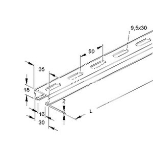 2980/2 FL, Ankerschiene, C-Profil, Schlitzweite 16 mm, 35x18x2000 mm, gelocht, Stahl, feuerverzinkt DIN EN ISO 1461