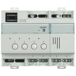 Reiheneinbauaktor mit 4 unabhängigen Wechselkontakten, 6 TE DIN. Nicht als Rollladenaktor verwendbar.