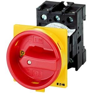 P1-32/V/SVB/HI11, Hauptschalter, P1, 32 A, Zwischenbau, 3-polig, 1 Schließer, 1 Öffner, NOT-AUS-Funktion, mit rotem Drehgriff und gelbem Sperrkranz, abschließbar in 0-S