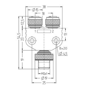 FSM4-2FKM3P3/S89, 2-fach Verteilersysteme, Blockverteiler M12 x 1 mit 3-fach LED, Stecker - 2x Kup