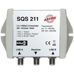 SQS 211, DiSEqC Positionsumschalter, 22 kHz, Diseqc 2.0, Toneburst, Option Bit, Ansteuerung von bis zu vier Satelliten, kaskadierbar