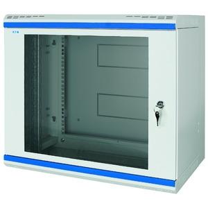NWS-6B09/GL/ZS, Wandgehäuse, 19 Zoll, 3-teilig, T=600mm, 9HE, Tür, Glas, +Zylinderschloss
