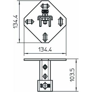 WBDHE 41 A2, Wandhalter Kombi MS 41 134x110x102, V2A, A2