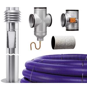 LEWT-Bausatz, LEWT-Bausatz, mit Erdkollektorrohr Mauerdurchführung, Ansaugsäule Steuerung und Rohr-Formteile
